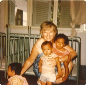 Evelyn Zember and her many adopted children and grandchildren.